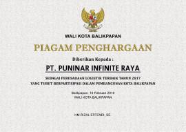 PT. Puninar Infinite Raya Perusahaan Logistic Terbaik 2017